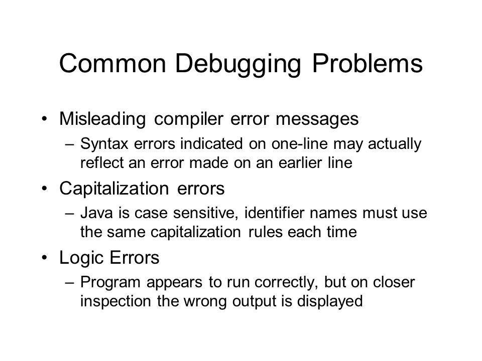 Common Debugging Problems