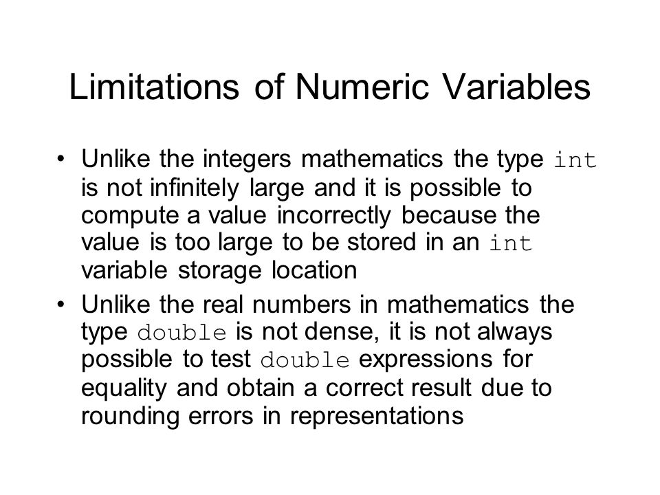 Limitations of Numeric Variables