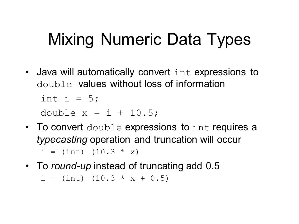 Mixing Numeric Data Types