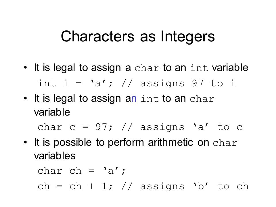 Characters as Integers