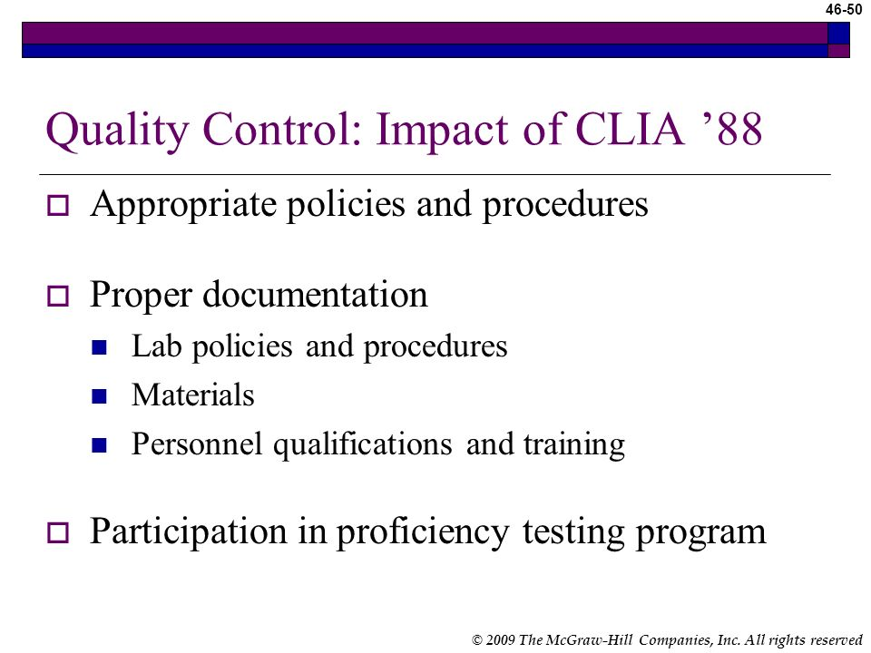 Quality Control: Impact of CLIA '88