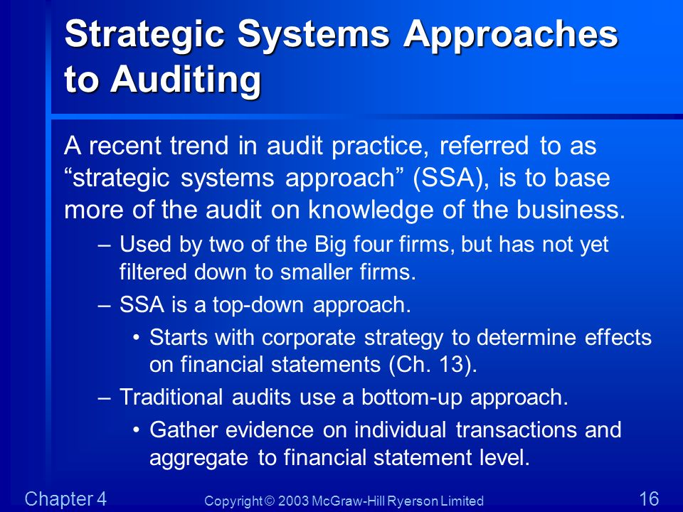 Strategic Systems Approaches to Auditing