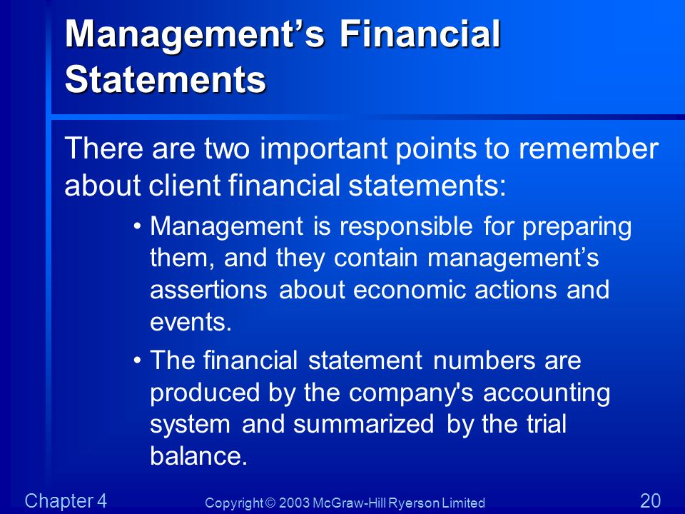 Management's Financial Statements