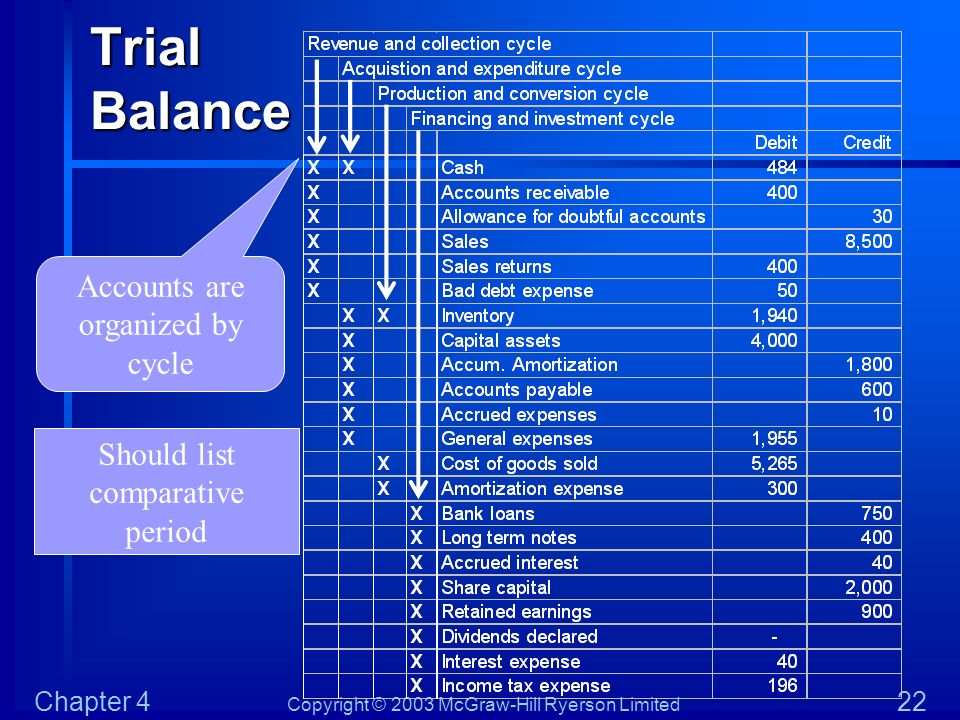 Trial Balance Accounts are organized by cycle