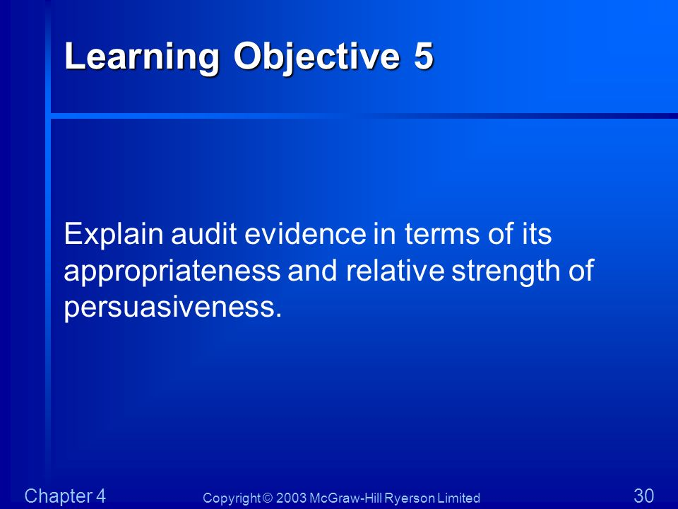 Learning Objective 5 Explain audit evidence in terms of its appropriateness and relative strength of persuasiveness.
