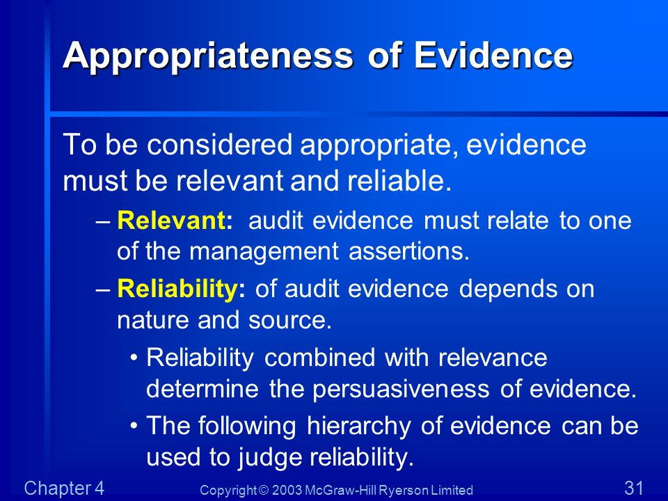 Appropriateness of Evidence