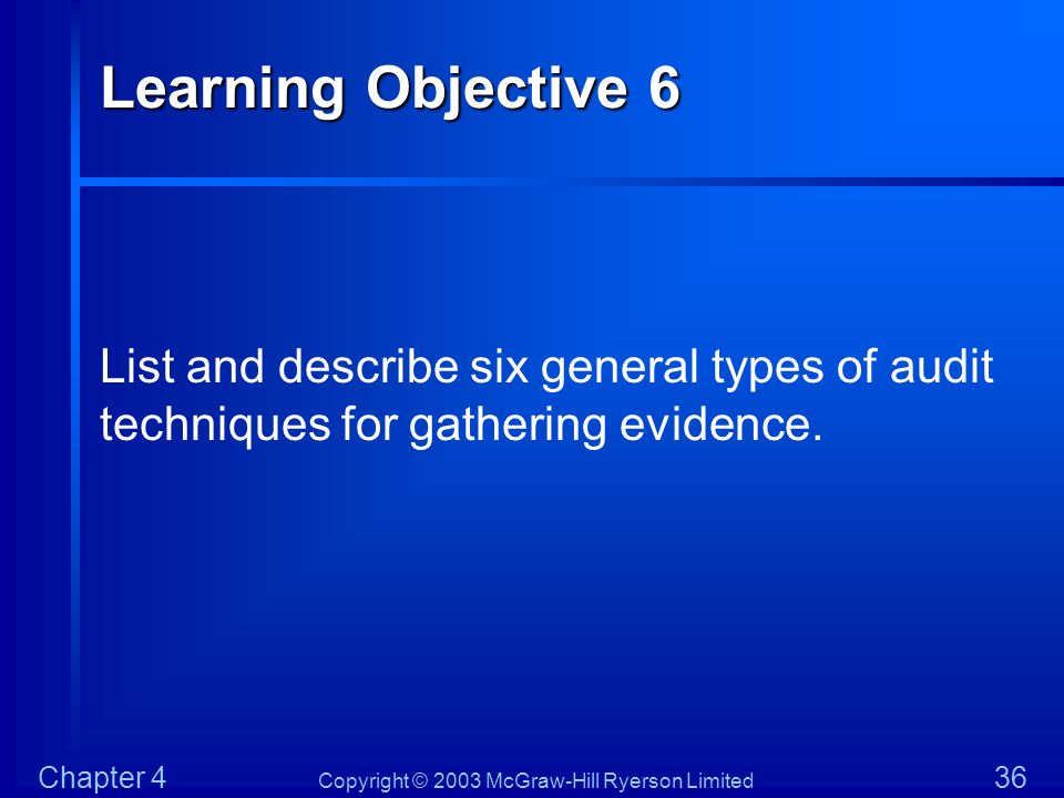 Learning Objective 6 List and describe six general types of audit techniques for gathering evidence.