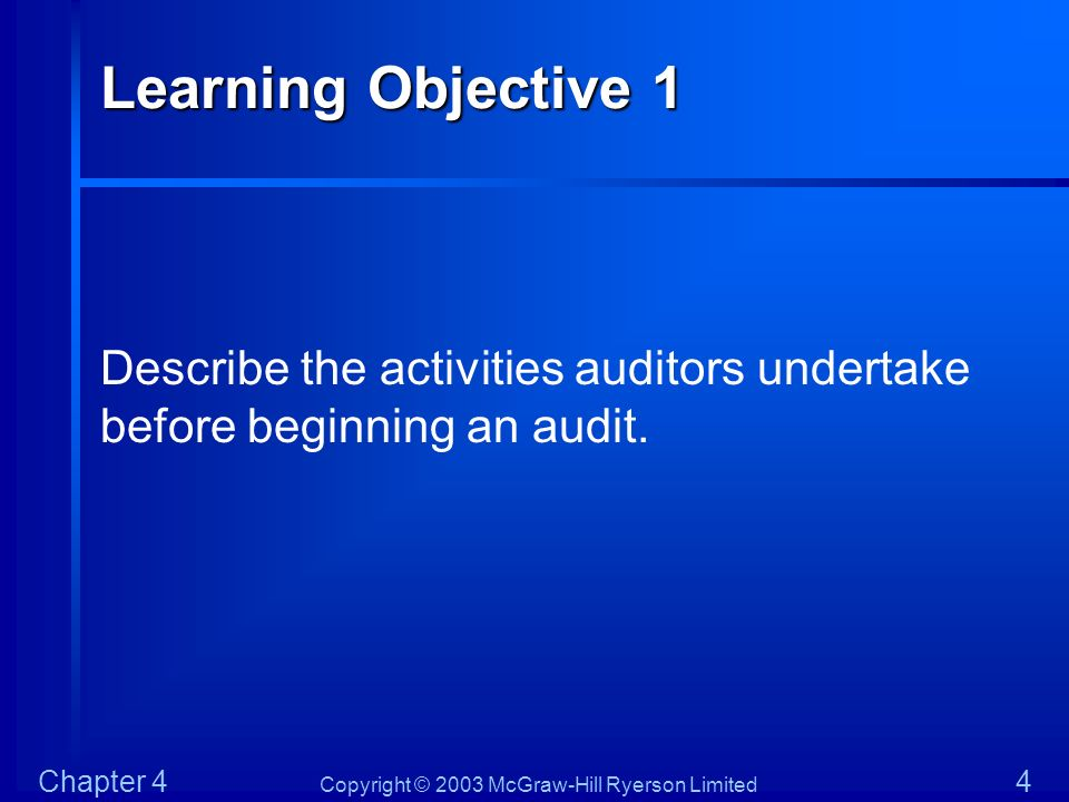Learning Objective 1 Describe the activities auditors undertake before beginning an audit.