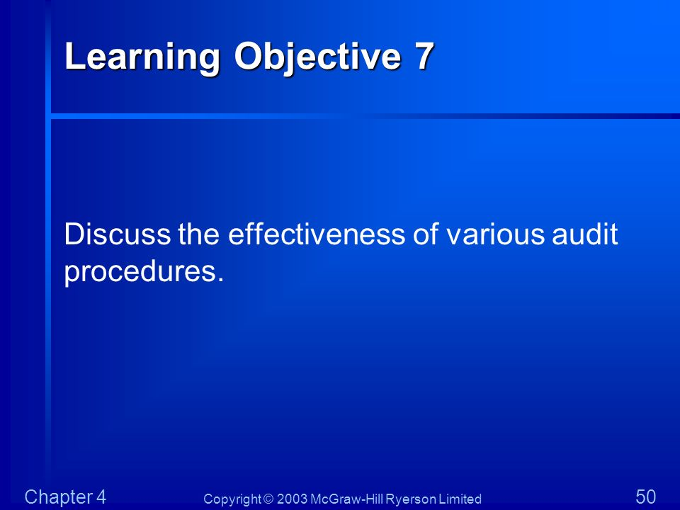 Learning Objective 7 Discuss the effectiveness of various audit procedures.