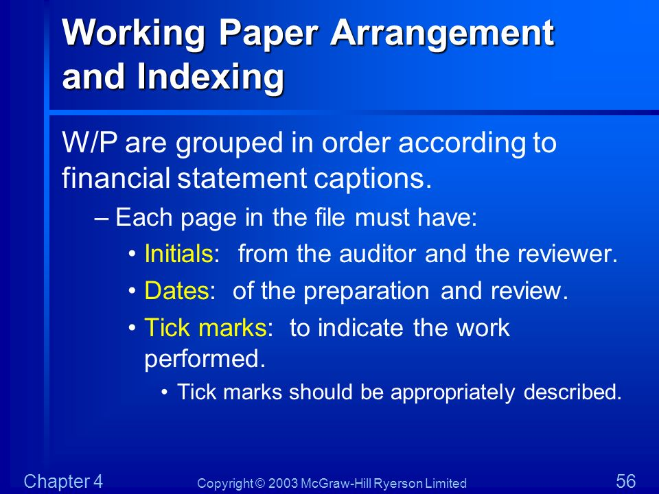 Working Paper Arrangement and Indexing