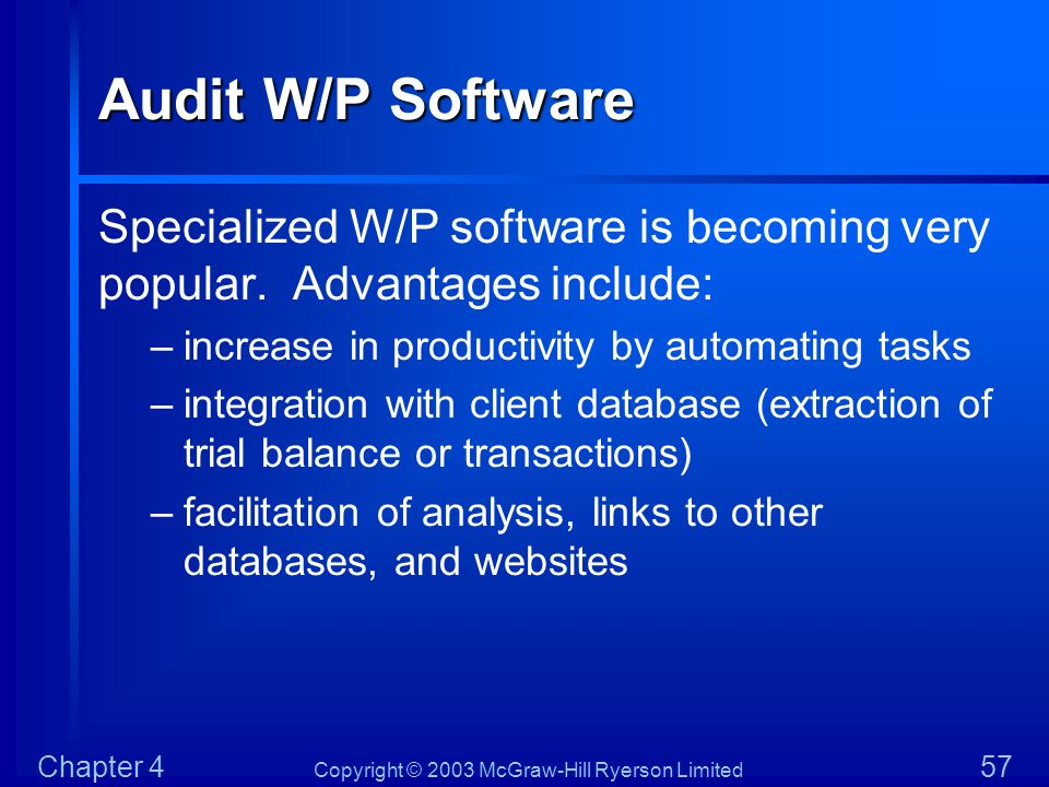 Audit W/P Software Specialized W/P software is becoming very popular. Advantages include: increase in productivity by automating tasks.