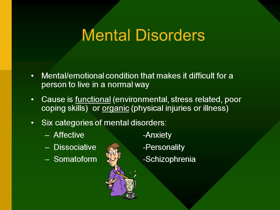Mental Disorders Mental/emotional condition that makes it difficult for a person to live in a normal way.