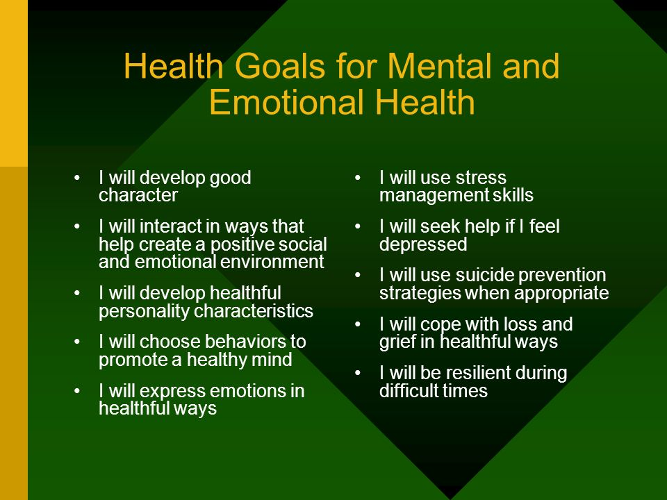 Health Goals for Mental and Emotional Health