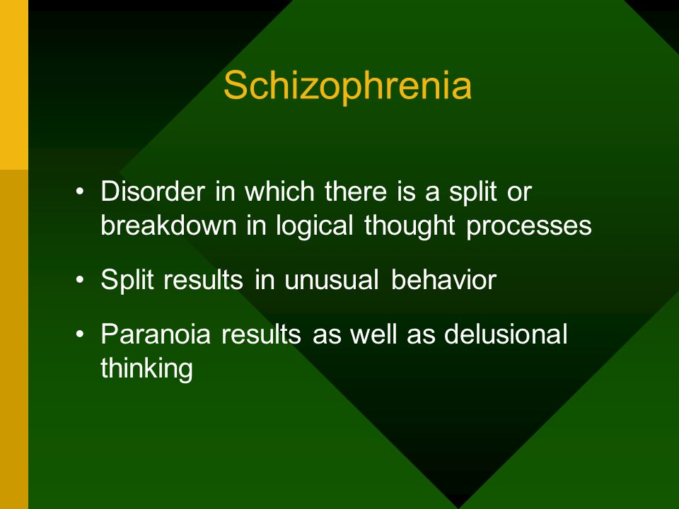 Schizophrenia Disorder in which there is a split or breakdown in logical thought processes. Split results in unusual behavior.