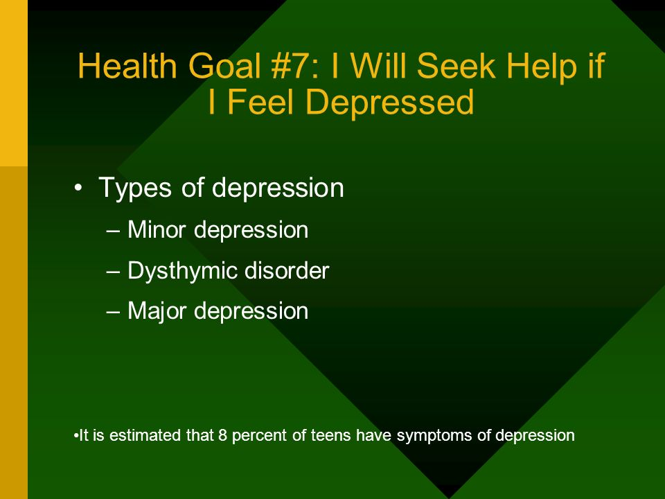 Health Goal #7: I Will Seek Help if I Feel Depressed