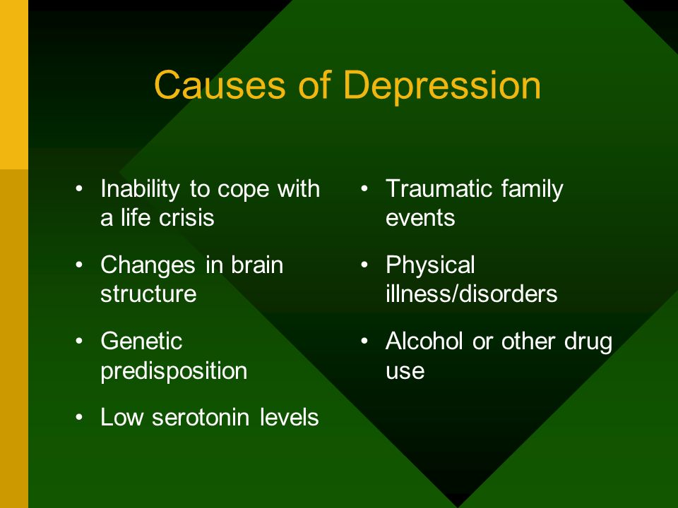 Causes of Depression Inability to cope with a life crisis