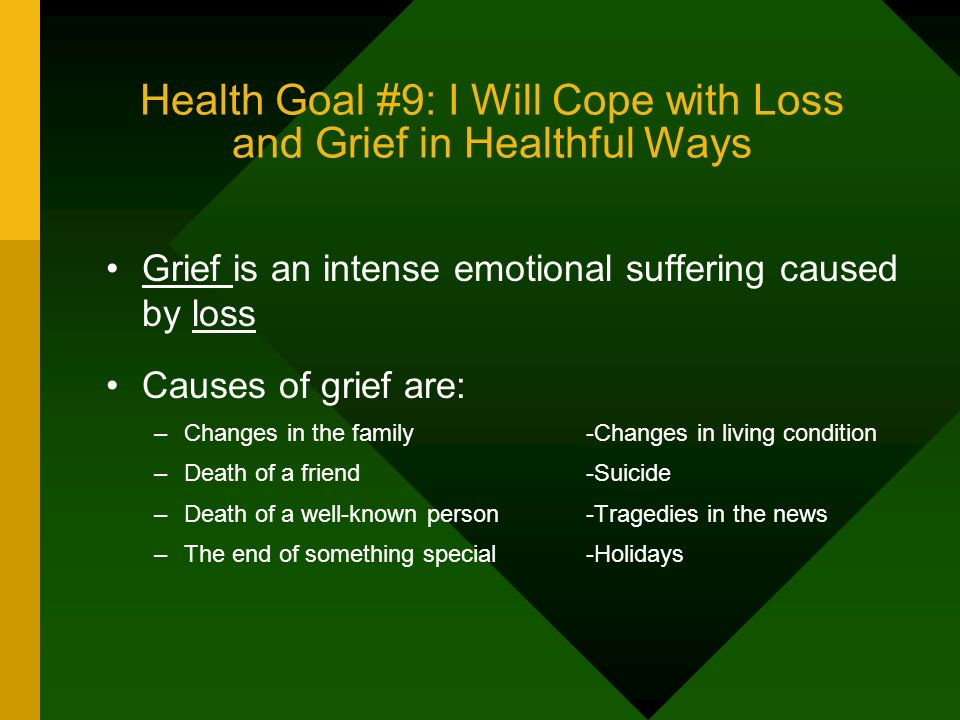 Health Goal #9: I Will Cope with Loss and Grief in Healthful Ways