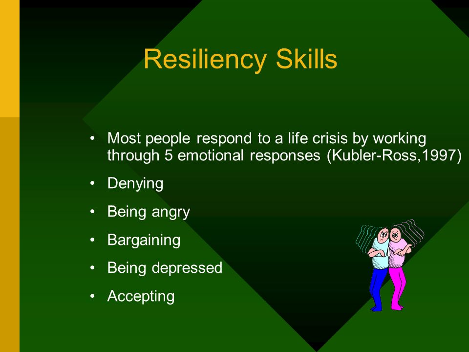 Resiliency Skills Most people respond to a life crisis by working through 5 emotional responses (Kubler-Ross,1997)