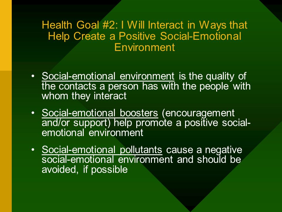Health Goal #2: I Will Interact in Ways that Help Create a Positive Social-Emotional Environment