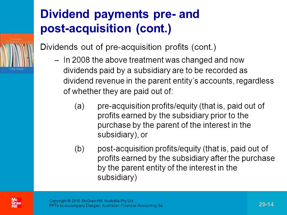 Dividend payments pre- and post-acquisition (cont.)