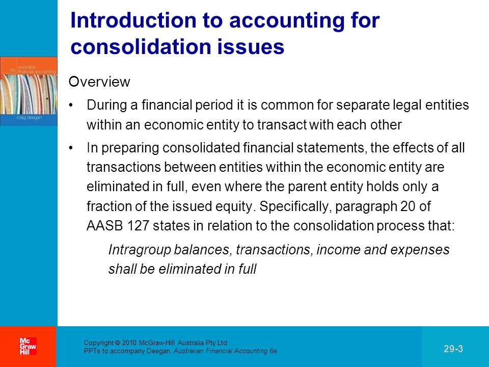 Introduction to accounting for consolidation issues