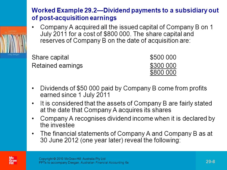 Worked Example 29.2—Dividend payments to a subsidiary out of post-acquisition earnings