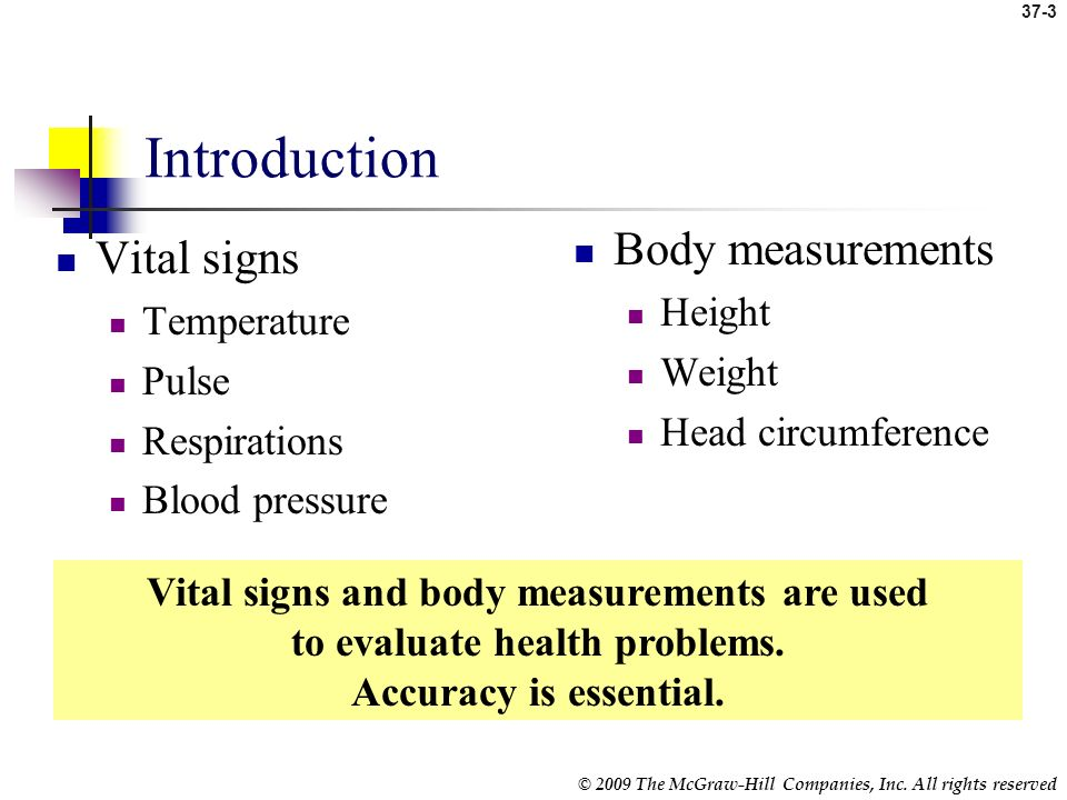 Introduction Body measurements Vital signs Height Temperature Weight