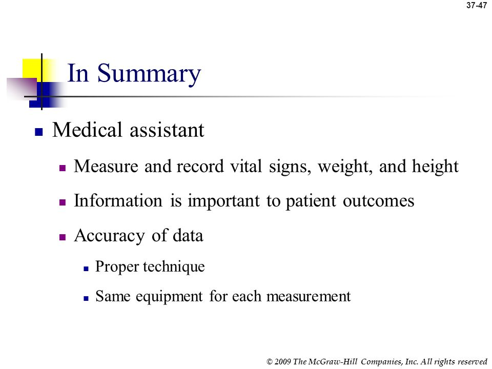 In Summary Medical assistant
