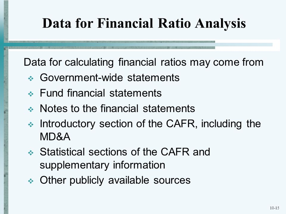 Data for Financial Ratio Analysis