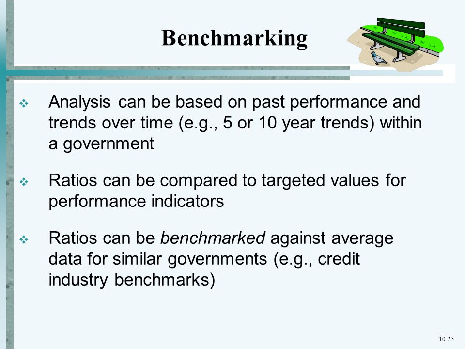 Benchmarking Analysis can be based on past performance and trends over time (e.g., 5 or 10 year trends) within a government.