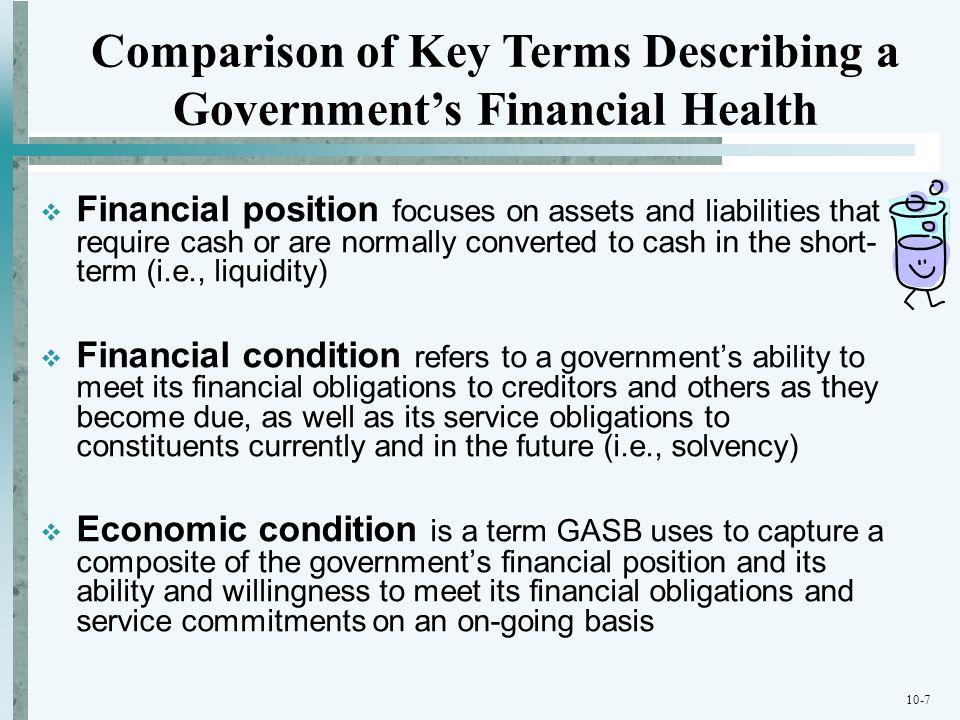 Comparison of Key Terms Describing a Government's Financial Health