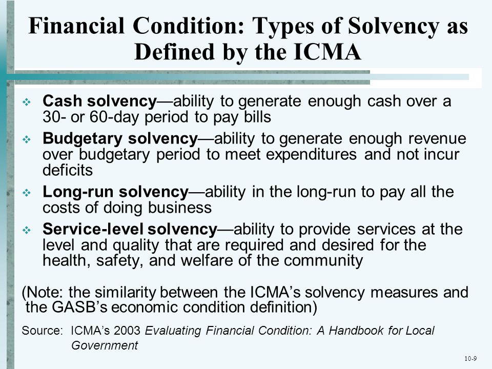 Financial Condition: Types of Solvency as Defined by the ICMA