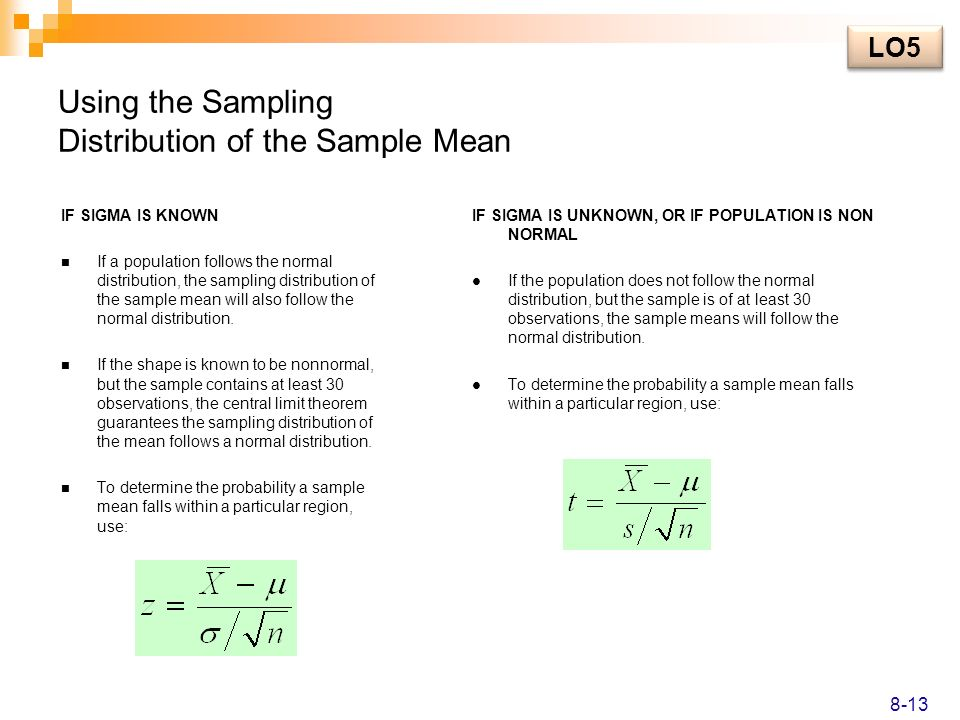 Using the Sampling Distribution of the Sample Mean