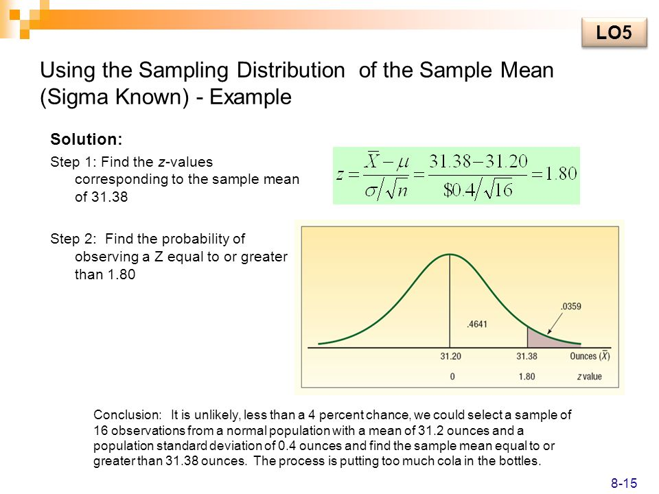 LO5 Using the Sampling Distribution of the Sample Mean (Sigma Known) - Example. Solution: