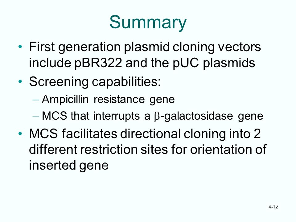 Summary First generation plasmid cloning vectors include pBR322 and the pUC plasmids. Screening capabilities: