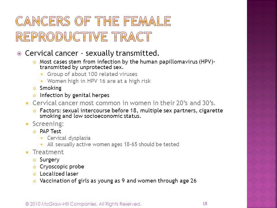 Cancers of the Female Reproductive Tract