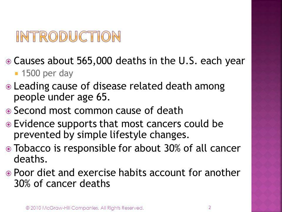 Introduction Causes about 565,000 deaths in the U.S. each year
