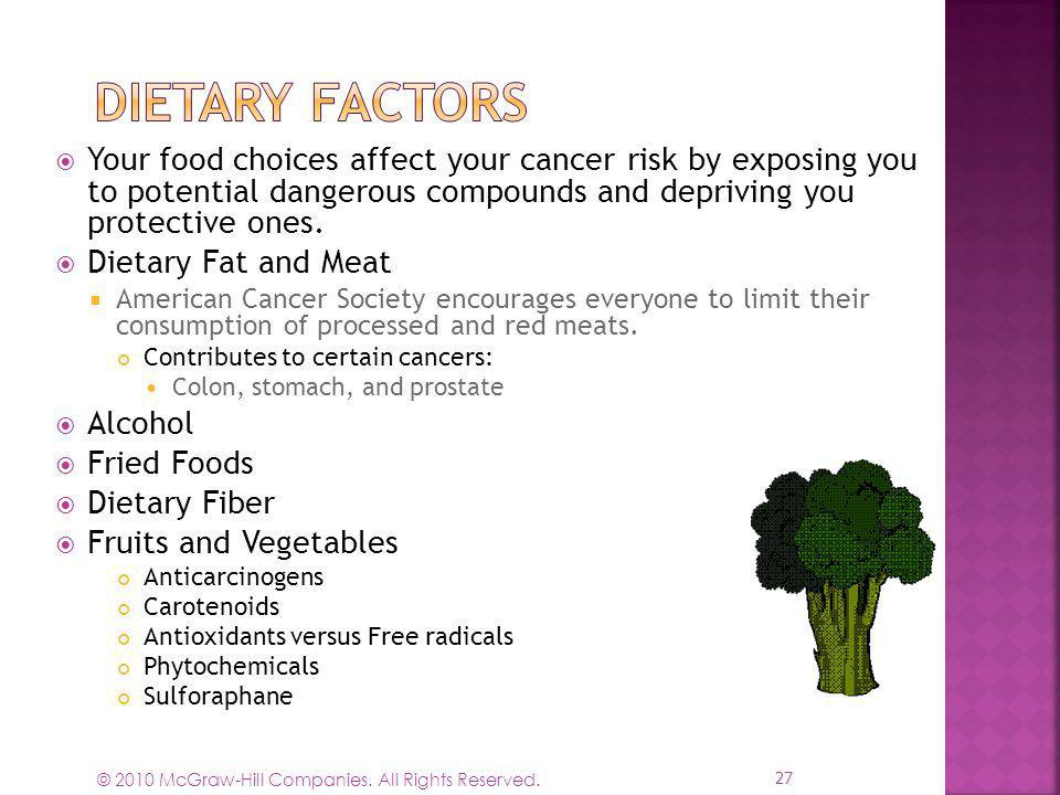 Dietary Factors Your food choices affect your cancer risk by exposing you to potential dangerous compounds and depriving you protective ones.