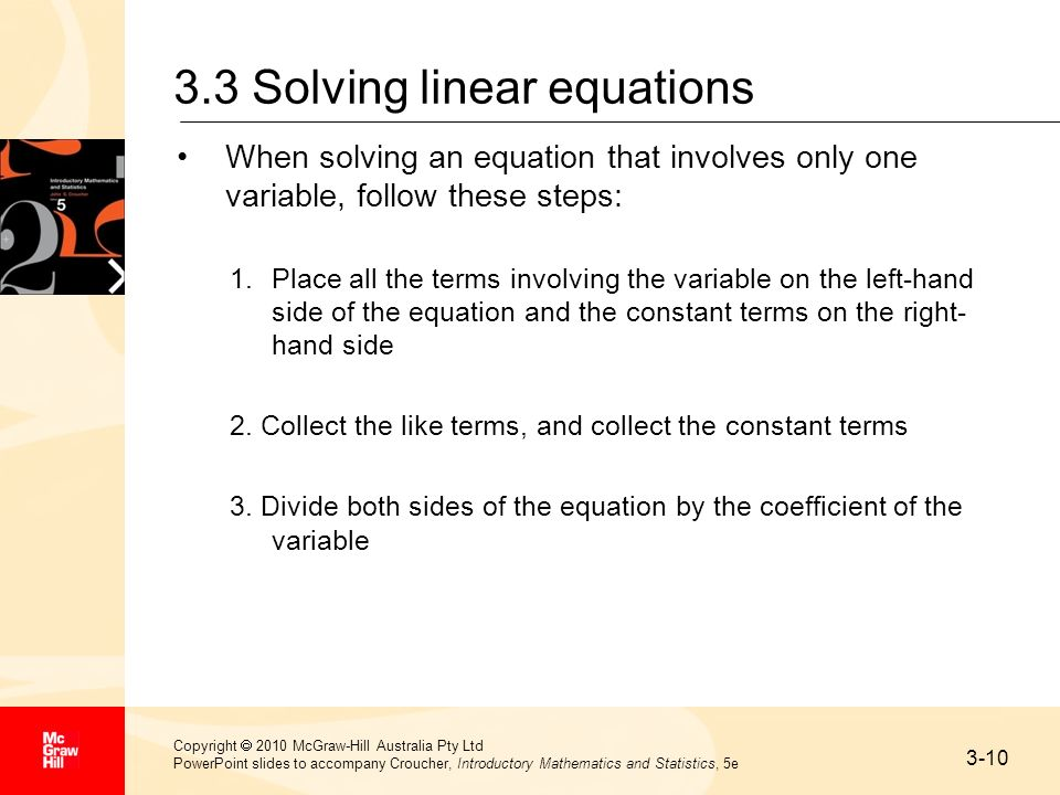 3.3 Solving linear equations