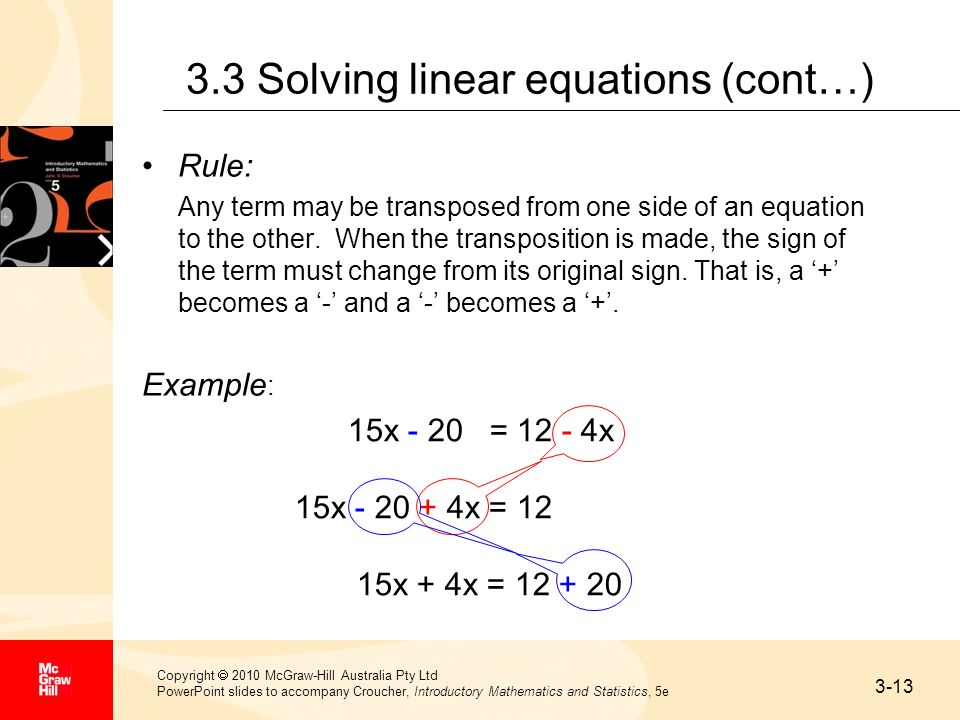 3.3 Solving linear equations (cont…)