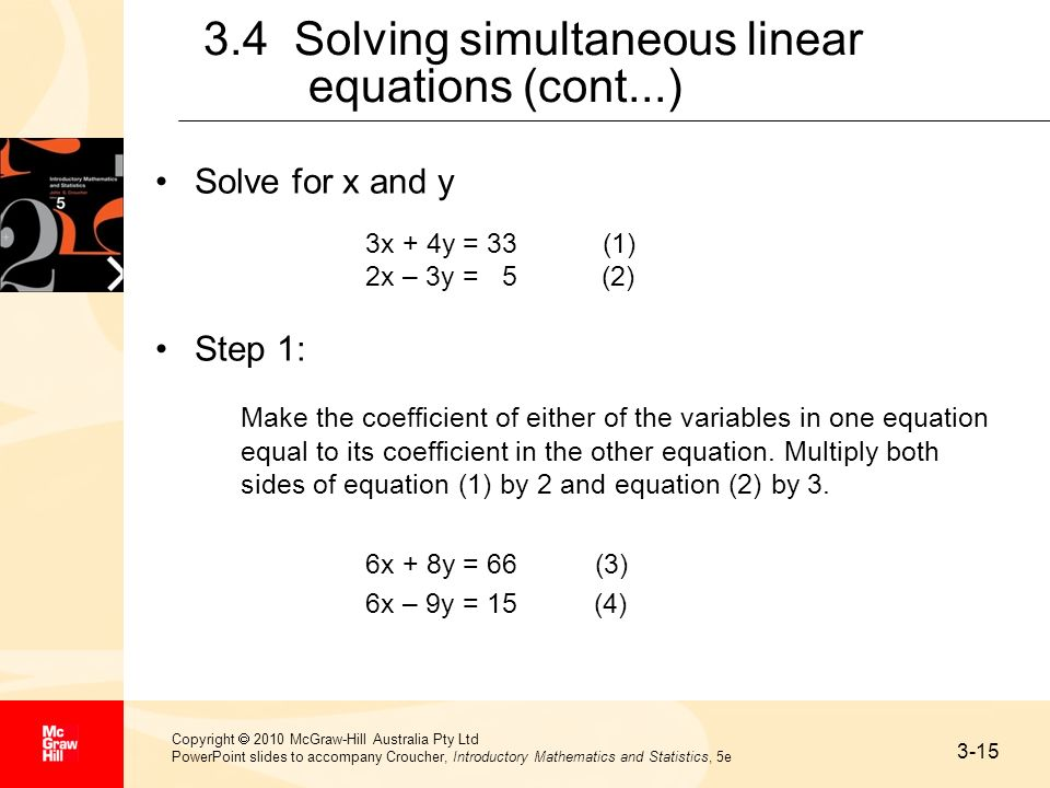 3.4 Solving simultaneous linear equations (cont...)