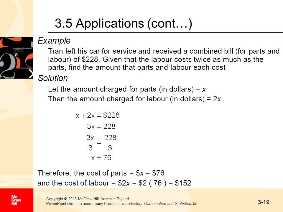 3.5 Applications (cont…) Example Solution