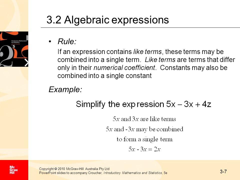 3.2 Algebraic expressions