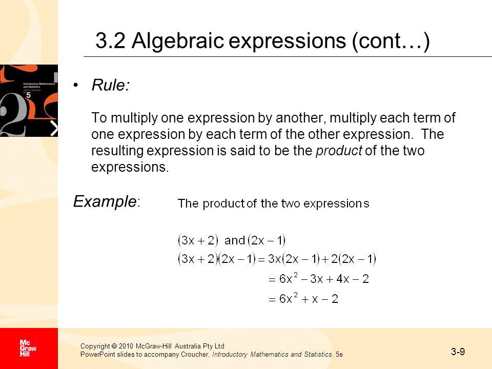 3.2 Algebraic expressions (cont…)