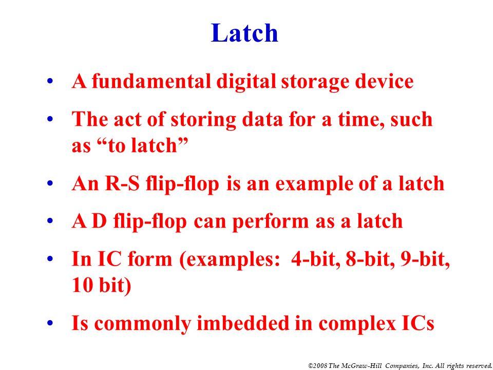 Latch A fundamental digital storage device