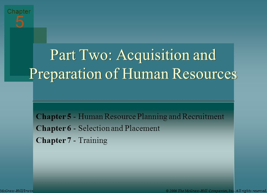 Part Two: Acquisition and Preparation of Human Resources
