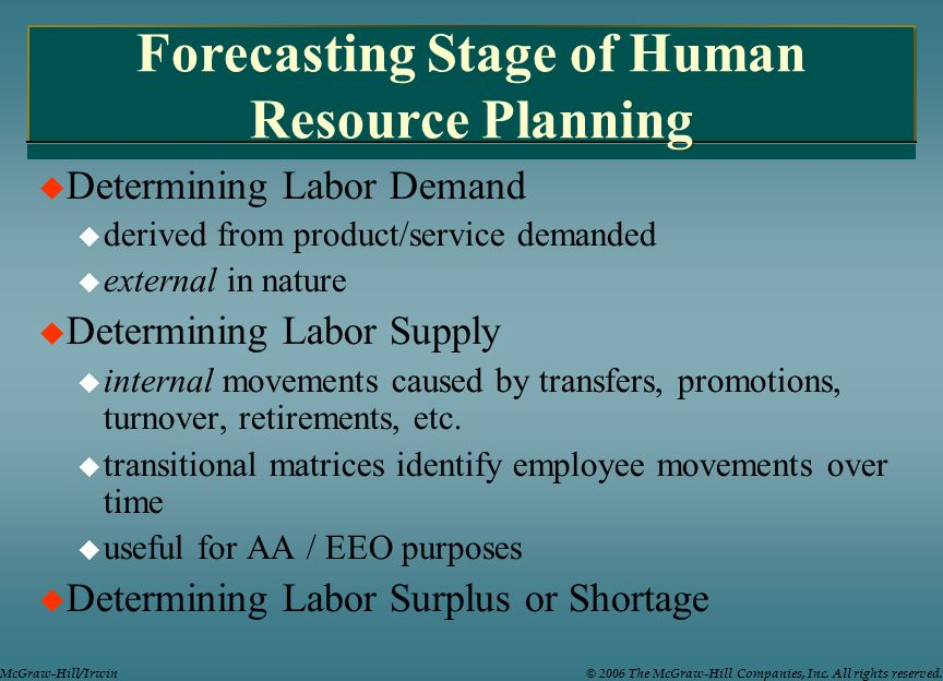 Forecasting Stage of Human Resource Planning