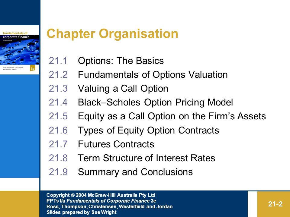 Chapter Organisation 21.1 Options: The Basics