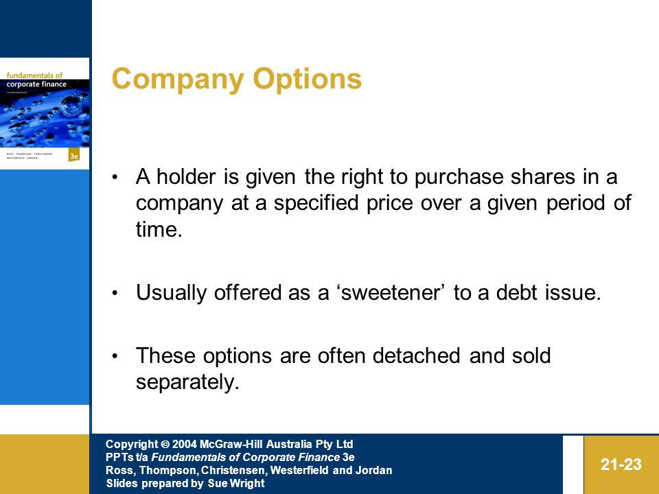 Company Options A holder is given the right to purchase shares in a company at a specified price over a given period of time.