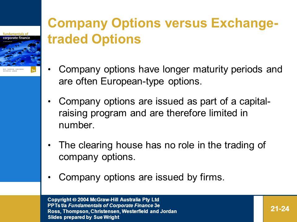 Company Options versus Exchange-traded Options